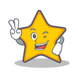 Two finger star character cartoon style. Vector illustration Stock Images