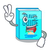 Two finger travel guide book isolated in cartoon. Vector illustration royalty free illustration