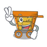 Two finger wooden trolley character cartoon. Vector illustration royalty free illustration