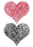Two fingerprint hearts, vector. Heart shapes with fingerprint texture Stock Image