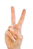Two fingers. Hand making victory sign. Isolated on white background Royalty Free Stock Photo