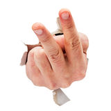 Two fingers. Hand pointing two fingers breakthrough white paper isolated on white Stock Photos
