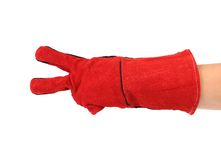Two fingers in heavy-duty red glove. Stock Images