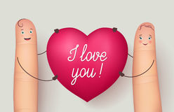Two fingers holding red heart Love. Two fingers holding red heart I Love You. Inspirational love message for husband, boyfriend or special person. Flat style Stock Image