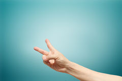 Two fingers man hand, Fighting symbol Stock Photo