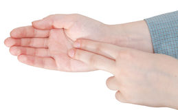Two fingers on palm close up - hand gesture Royalty Free Stock Photos