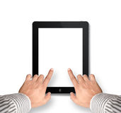 Two fingers pointing into digital tablet with blank screen isola Royalty Free Stock Images