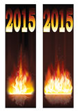 Two fire banners 2015 new year. Vector illustration Royalty Free Stock Photography