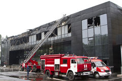 Two fire engines near the sports complex Donbass after the fire Royalty Free Stock Images