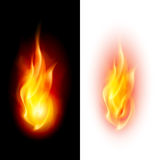 Two fire flames. Two fire flames on contrast black and white backgrounds Stock Photography