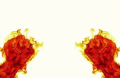 Two fire flames fist ready to fight. On white backround Royalty Free Stock Images