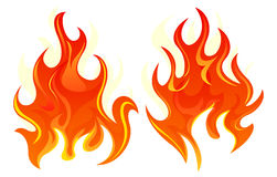 Two fire icon. Two simple fire icon on white background Stock Photos