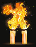 Two fire lovers dancing. Vector illustration Stock Image