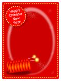 Two Firecrackers on Chinese New Year Background. A Beautiful Firecrackers with Sparking Light Stars on Red Envelope Background, Signal for Chinese New Year Stock Photography