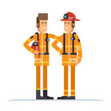 Two firefighter officers in personal. Firefighter officer in personal protecting equipment standing. Cool vector character on firemen rescue workers male Royalty Free Stock Images