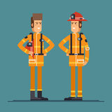 Two firefighter officers in personal. Protecting equipment standing. Cool vector characters on firemen rescue workers male characters in flat design Stock Photos
