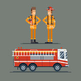 Two firefighter officers in personal. Protecting equipment standing. Fire engine truck. Cool vector characters on firemen rescue workers male characters in flat Royalty Free Stock Images