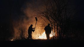 Two firefighters with fire flappers extinguish a fire in the forest at night stock image