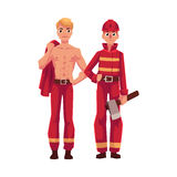 Two firefighters, firemen, one at work, another with naked torso. Two firefighters, firemen, one at work, another resting with naked torso, cartoon vector Royalty Free Stock Photos