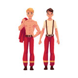 Two firefighters, firemen at rest, with naked torso, in tshirt. Two handsome firefighters, firemen at rest, with naked torso and in t-shirt, cartoon vector Royalty Free Stock Image