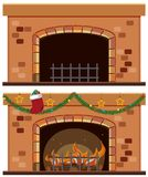 Two fireplaces with christmas ornaments. Illustration Stock Image