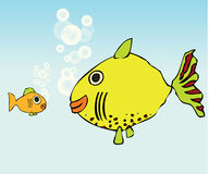 Two Fish. One big and one small are taking a break together vector illustration