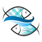 Two fish and a blue wave. Symbol for fishing Royalty Free Stock Image