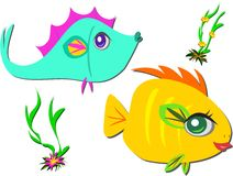 Two Fish Friends Swimming Stock Photography