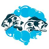 Two fishes in the water. Two fish jump out of the water Royalty Free Stock Image