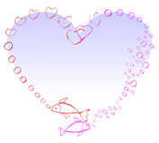 Two fish in love. Making a heart with air bubbles Stock Images