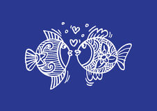 Two fish in love. Hand Drawn Fish Royalty Free Stock Images