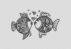 Two fish in love. Hand Drawn Fish Royalty Free Stock Image