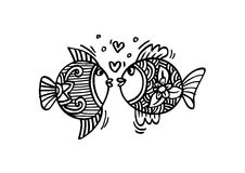 Two fish in love. Hand Drawn Fish Stock Photo