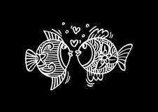Two fish in love. Hand Drawn Fish Stock Photos