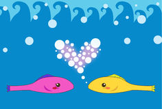 Two Fish Lover. Image of two fishes who is flirting and courting each other in the ocean Stock Photo