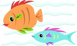 Two Fish of Orange and Blue Stock Images