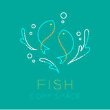 Two Fish or Pisces, Water splash and Air bubble logo icon Royalty Free Stock Image