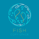 Two Fish or Pisces, Water splash circle and Air bubble logo icon Stock Photos