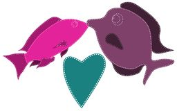 Two fish, purple and pink, sewn with white threads kiss. Next to a blue heart on a white background. Marine love. Vector illustration Royalty Free Stock Photo