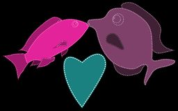 Two fish, purple and pink, stitched with white threads kiss next to the heart of blue on a black background. Marine love. Vector illustration Royalty Free Stock Images