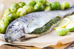 Two fish, rainbow trout stuffed with green herb sauce, Brussels Royalty Free Stock Image