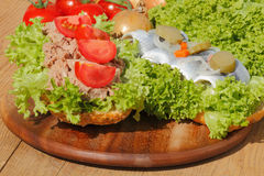 Two fish rolls with tuna and sour herring Royalty Free Stock Photos