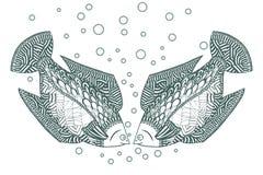 Two fish Zen tangle. Zentangle Undersea animals. Vector illustration. Stock Photography