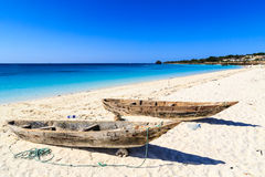 Two fisherman boats on the beach Stock Images