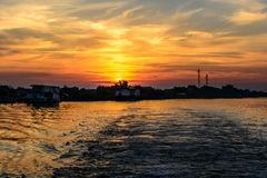 Two fisherman houses at sunset in summer. Horizontal view of a c Royalty Free Stock Photography