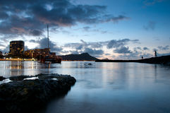 Two  fisherman near Diamond Head at Waikiki Royalty Free Stock Images