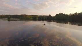 Two fisherman in rubber boat floats with white swan. Drone aerial shot. Friends relaxes in boat on lake in sunny forest. Stracha river, Belarus. Beautiful stock video