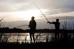 Two fishermans Royalty Free Stock Images