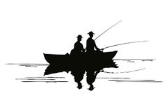 Two fishermen in a boat. Stock Photography