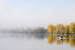 Boating Into The Fog Royalty Free Stock Photos